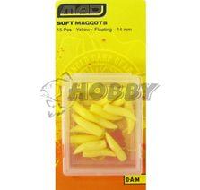 MAD Umelé červy Soft Floating Yellow 14mm/15ks