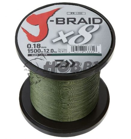 Šnúra Daiwa J-Braid X8 0,16mm/9,0kg/1m green